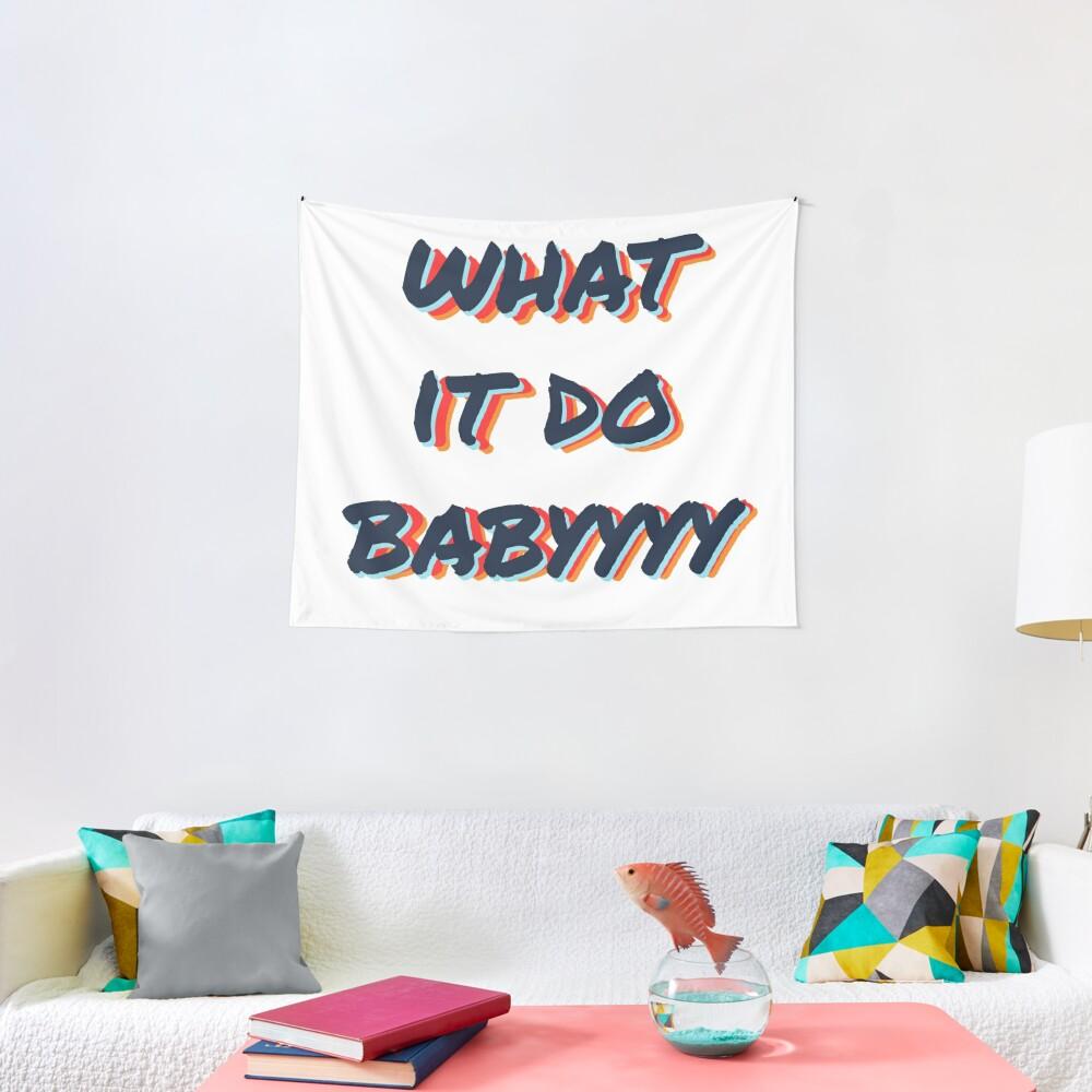 what it do babyyyy navy Tapestry