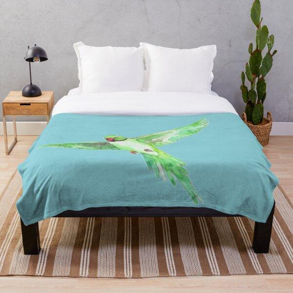 Indian Ringneck Parakeet Throw Blanket