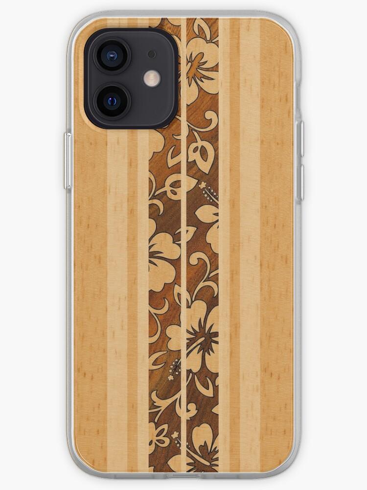 Pupukea Hawaiian Faux Koa planche de surf en bois | Coque iPhone