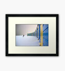 Beach Huts In The Snow Framed Print