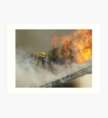 Roof operations on a training fire Art Print