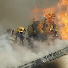 Roof operations on a training fire by chibiphoto
