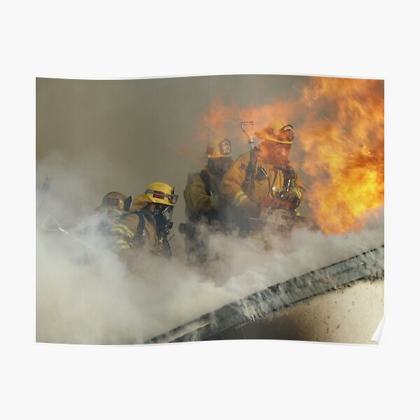 Roof operations on a training fire Poster
