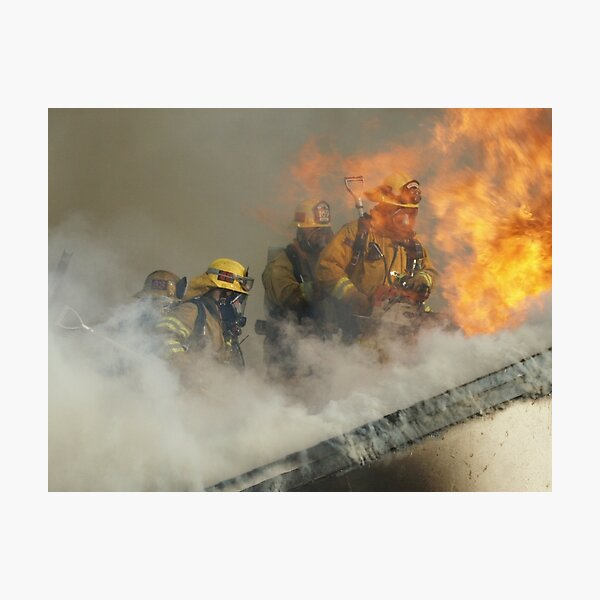 Roof operations on a training fire Photographic Print