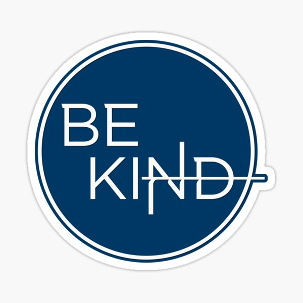 Be Kind in Simple White Circle on Blue Sticker