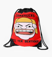 Ermahgerd herper berthder geek funny nerd Drawstring Bag