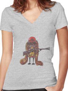 The rabbitish hunter Women's Fitted V-Neck T-Shirt