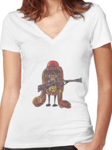 The rabbitish hunter Women's Fitted V-Neck T-Shirt