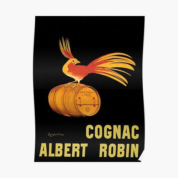 POSTER COGNAC ALBERT ROBIN RED YELLOW BIRD ON BARREL VINTAGE REPRO FREE S//H