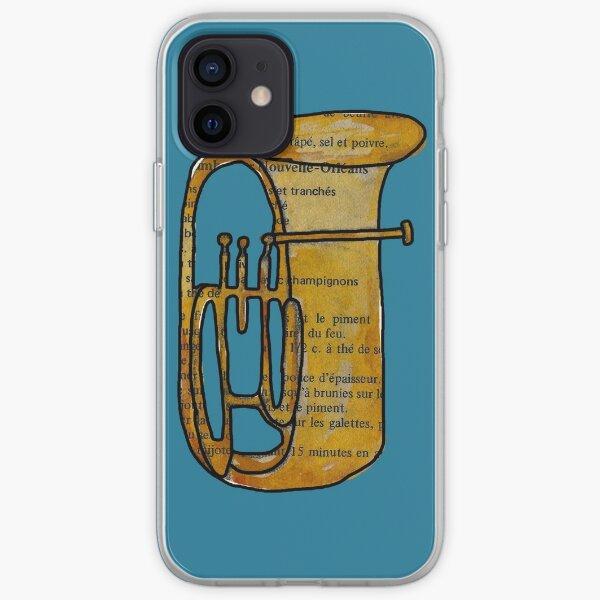 Tuba sur fond turquoise Coque souple iPhone