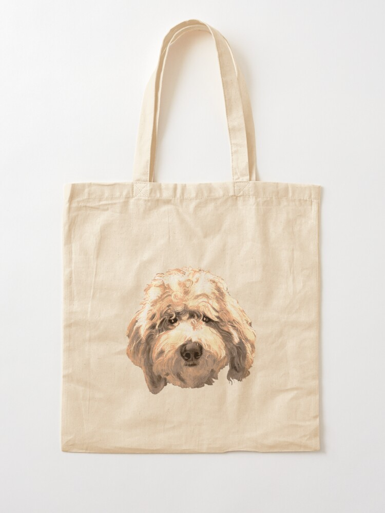 Alternate view of Lucky Labradoodle Face ~ Golden Tote Bag