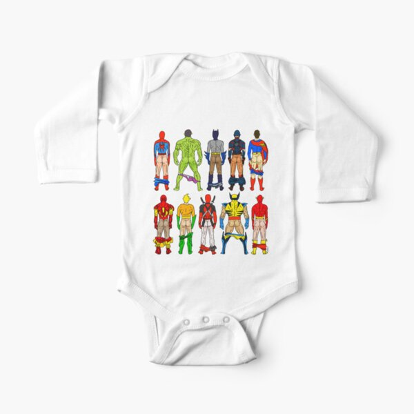 Superhero Butts Long Sleeve Baby One-Piece