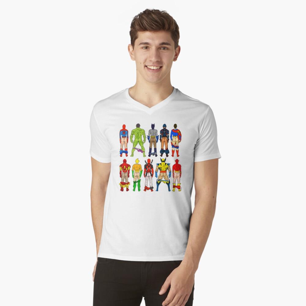 Superhero Butts V-Neck T-Shirt