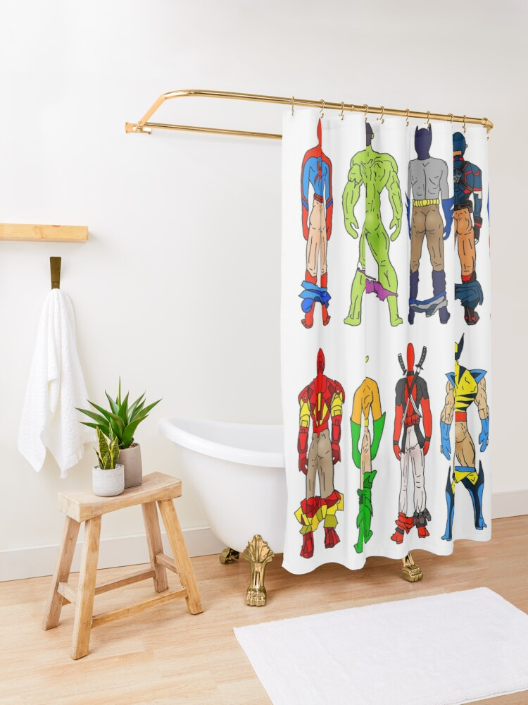 Alternate view of Superhero Butts Shower Curtain