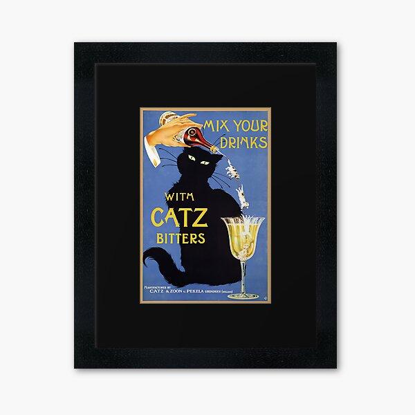Whimsical vintage liquor  black cat ad for bitters Framed Art Print
