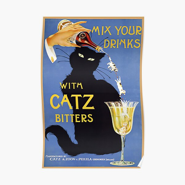 Whimsical vintage liquor  black cat ad for bitters Poster