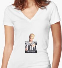 Spike- Straight Outta Heaven Women's Fitted V-Neck T-Shirt