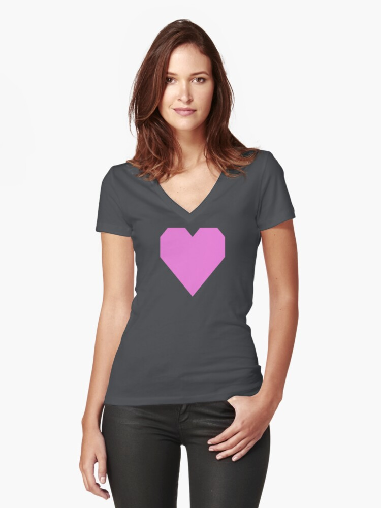 Pale Magenta  Women's Fitted V-Neck T-Shirt Front