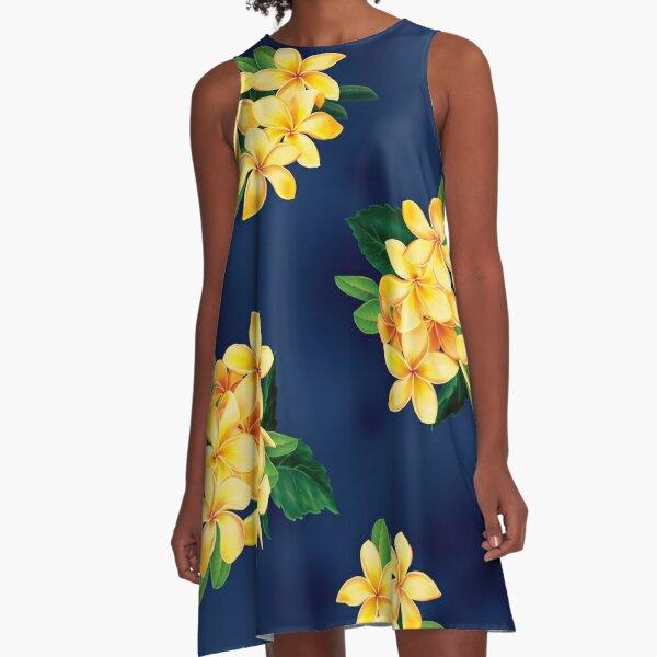 Tropical Paradise Hawaiian Plumeria Illustration A-Line Dress