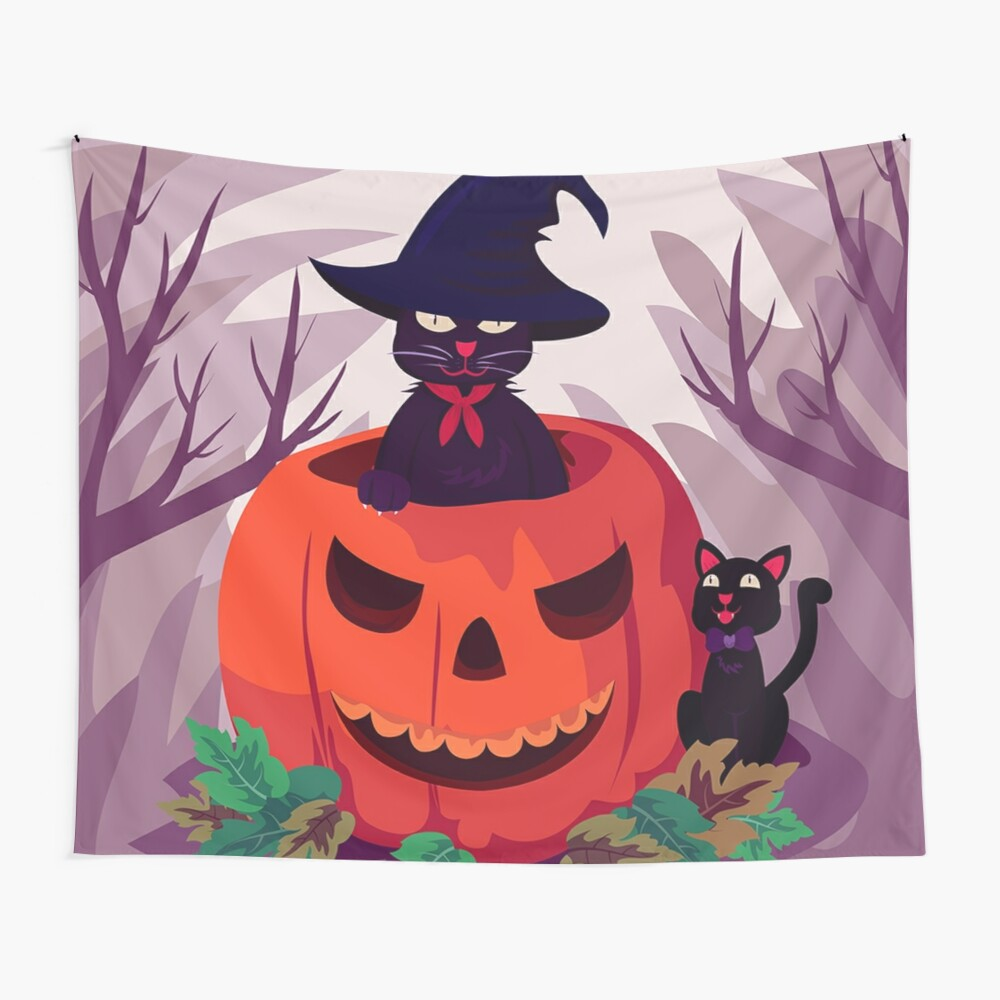 Wicked Black Cat Jack-o-lantern Halloween Jungle Wall Tapestry