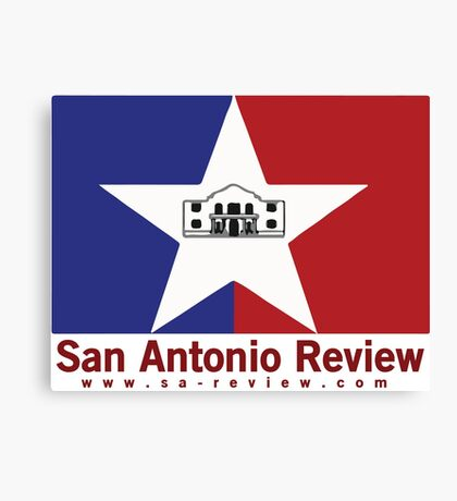San Antonio Review with San Antonio flag and URL Canvas Print