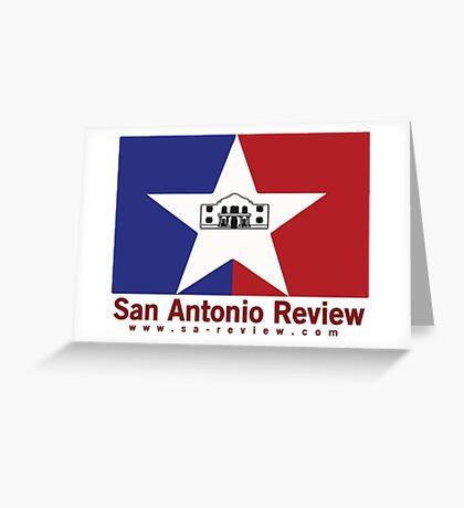 San Antonio Review with San Antonio flag and URL Greeting Card