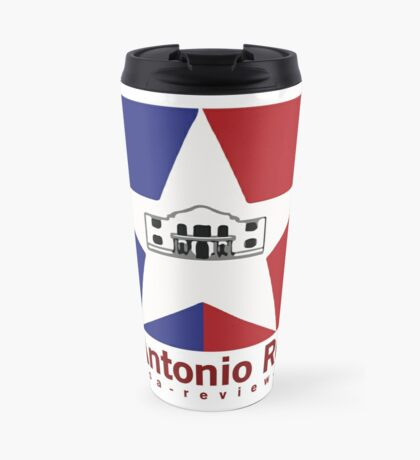 San Antonio Review with San Antonio flag and URL Travel Mug