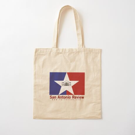 San Antonio Review with San Antonio flag and URL Cotton Tote Bag