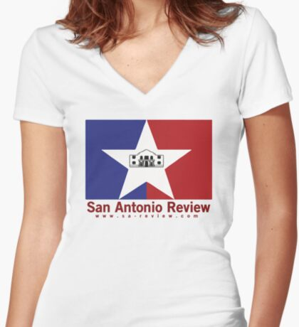 San Antonio Review with San Antonio flag and URL Fitted V-Neck T-Shirt