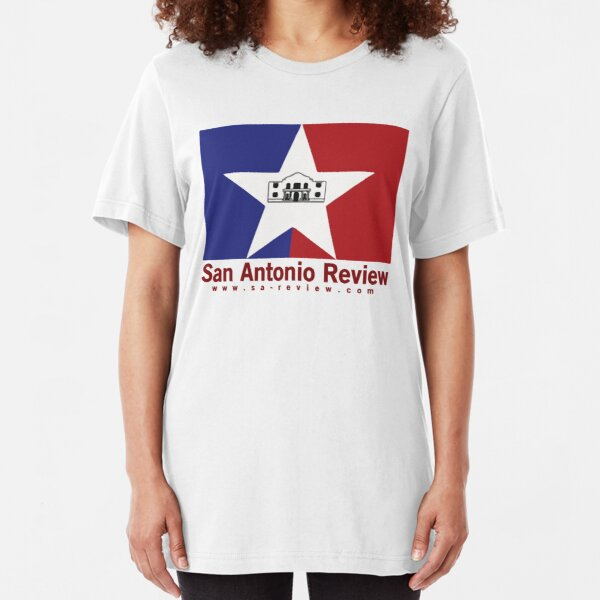 San Antonio Review with San Antonio flag and URL Slim Fit T-Shirt