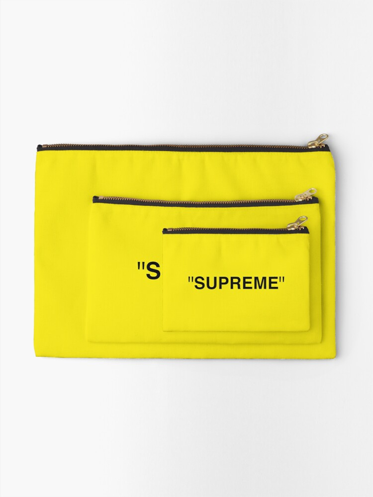 Supreme X Off White Logo Black Yellow White Zipper Pouch By Kxwee Redbubble