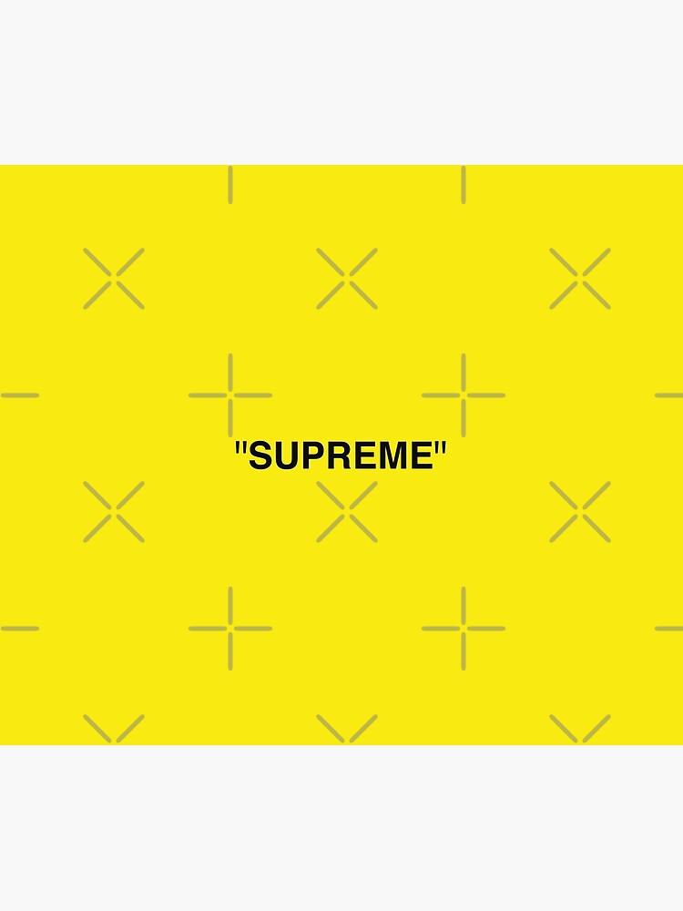 Supreme X Off White Logo Black Yellow White Duvet Cover By Kxwee Redbubble