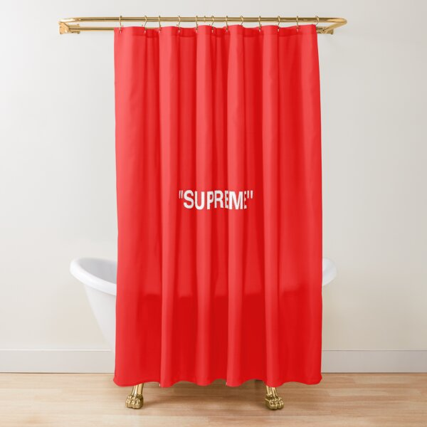 Supreme X Off-White LOGO WHITE / RED / BLACK Shower Curtain