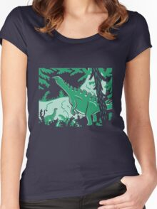 Long Necks - Blue and Green Women's Fitted Scoop T-Shirt