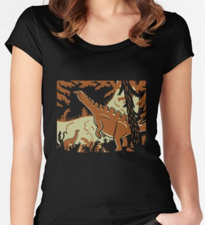 Long Necks - Tan and Orange Women's Fitted Scoop T-Shirt