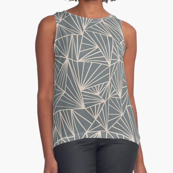 Ab Fan Grey And Nude Sleeveless Top