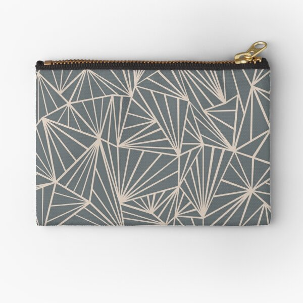 Ab Fan Grey And Nude Zipper Pouch