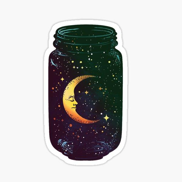 Whimsical Moon - Galaxy Jar Sticker