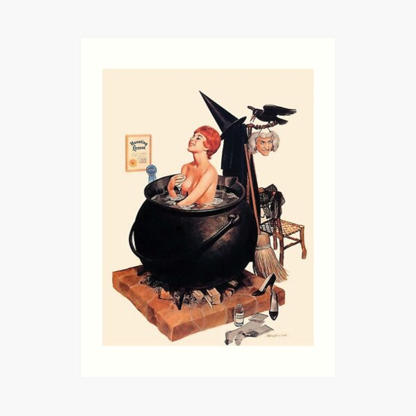 Pin up young witch on bath, vintage Halloween greetings       Art Print