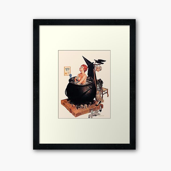 Pin up young witch on bath, vintage Halloween greetings       Framed Art Print