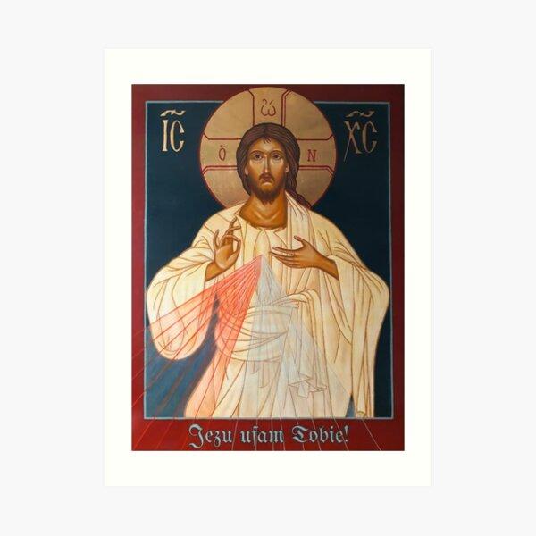 Merciful Jesus Icon by Leonid Bózio - Jezu Ufam Tobie  Art Print