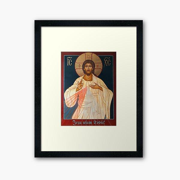 Merciful Jesus Icon by Leonid Bózio - Jezu Ufam Tobie  Framed Art Print