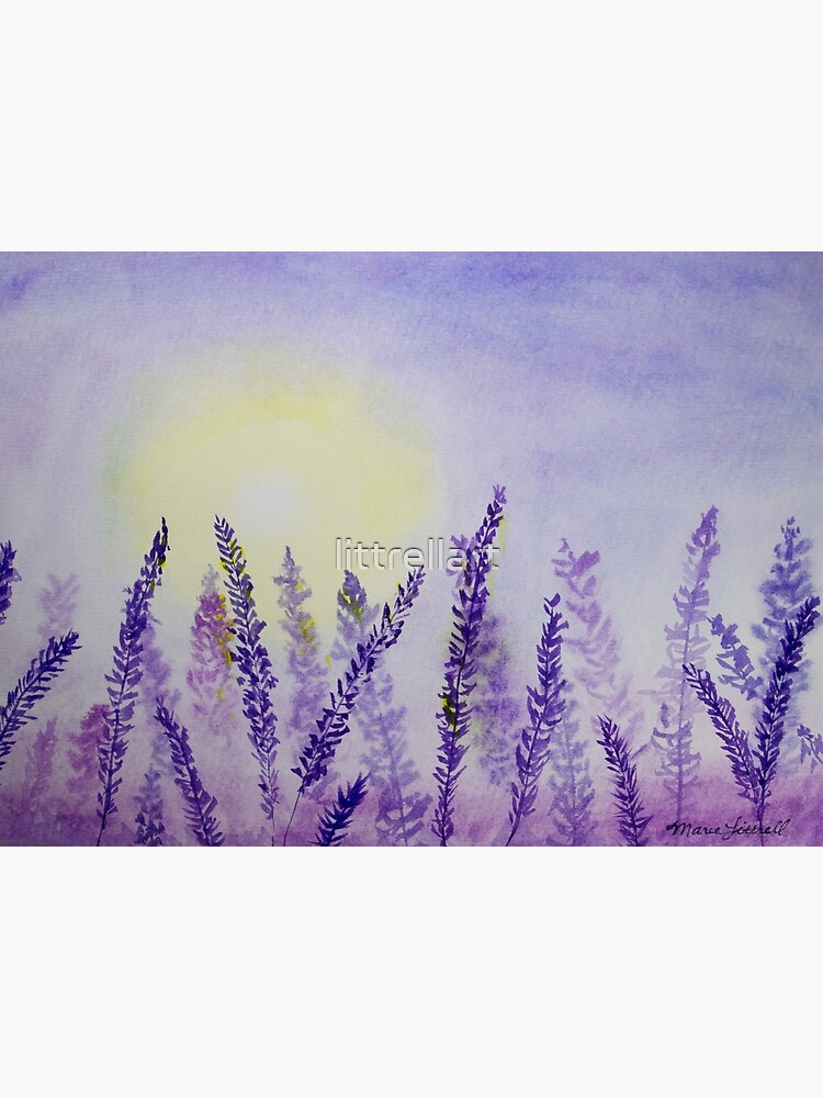 Lavender Fields Watercolor Painting Purple Floral Watercolor Sunrise Sunset Field Of Lavender Flowers Floral Art Garden Painting Art Board Print By Littrellart Redbubble