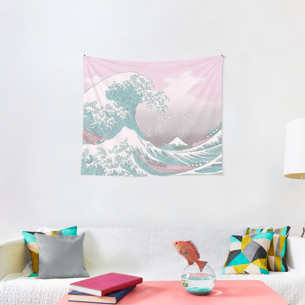 Pastel The Great Wave off Kanagawa Tapestry