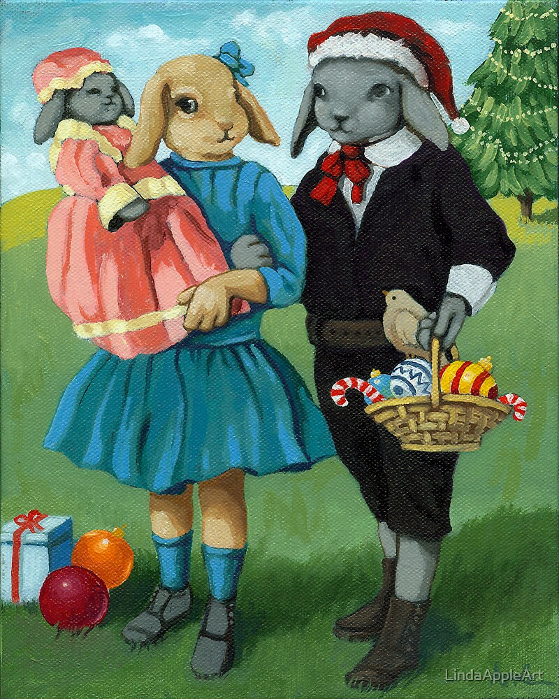 Randolph and Millie - Christmas Greetings animal art by LindaAppleArt