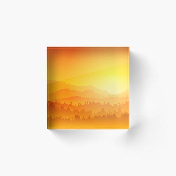 Mountain sunset Acrylic Block