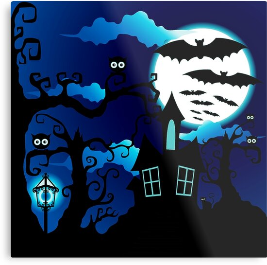 Haunted House Full Moon Halloween Metal Print - Haunted House Decor