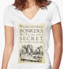 Camiseta entallada de cuello en V Alicia en el país de las maravillas - Eres completamente loco - Cita de Mad Hatter 0189