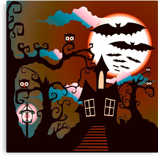 Spooky Haunted House Full Moon Halloween Canvas Print