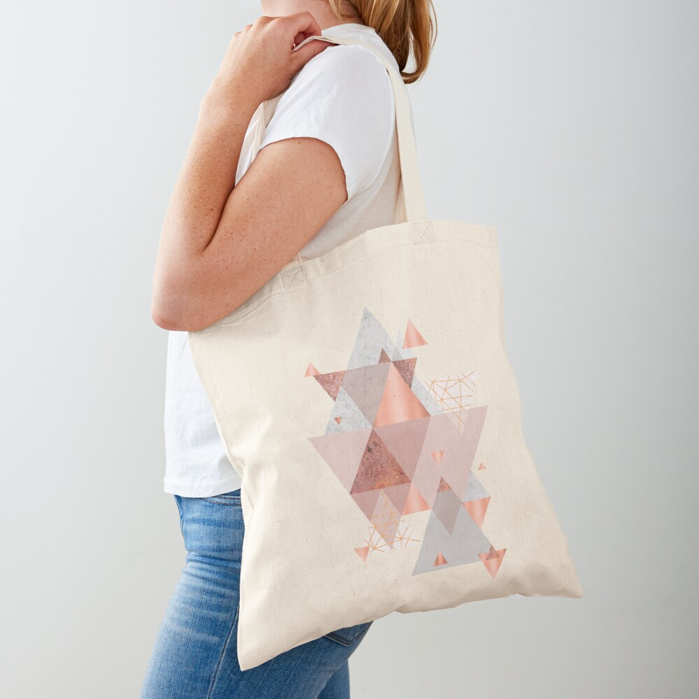Erröten Rosa Geo Stofftasche